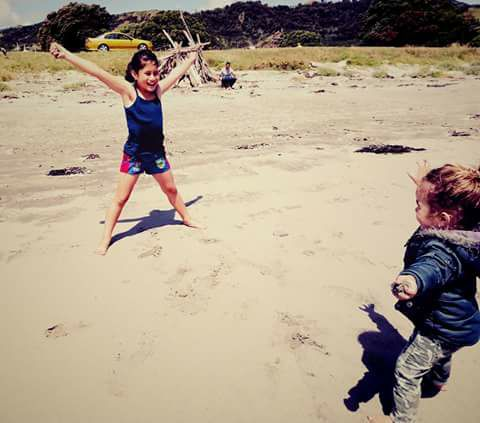 Jumping on Mahia Beach