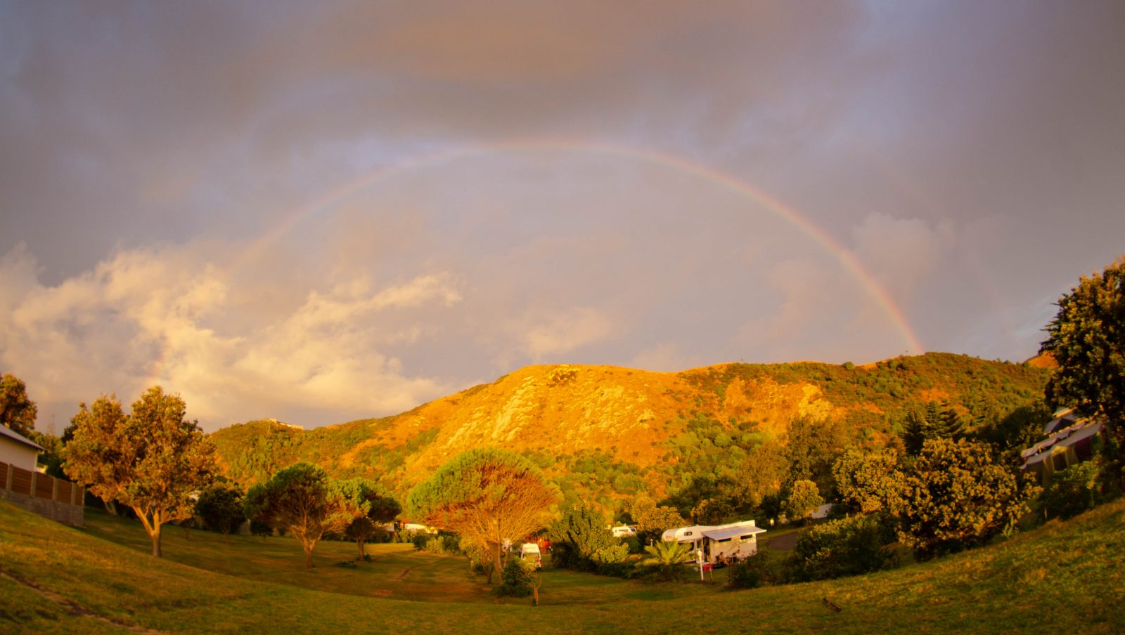 Rainbow over Mahia Holiday Park